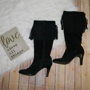 Matisse Black Suede Fringe Sioux Heeled Boots